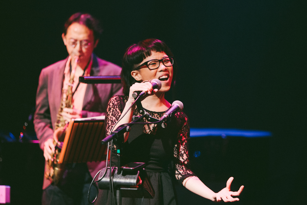 Eugenia performing at Late Night @Esplanade with The Steve McQueens (Photo credit: Harriet Koh)