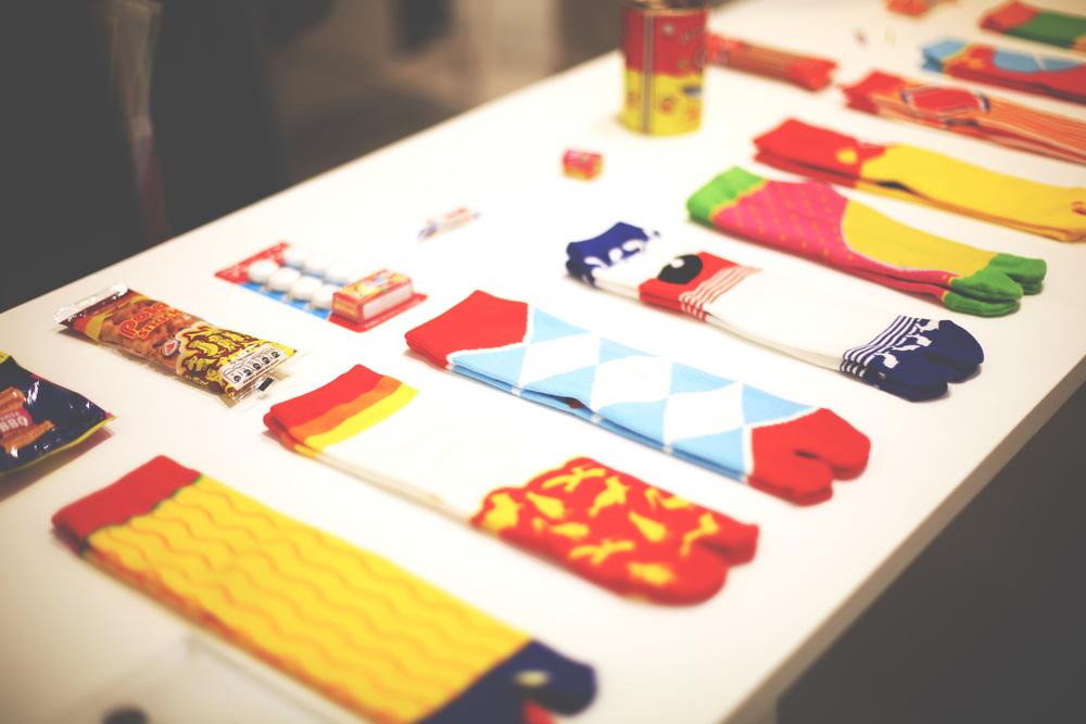 Tabi socks depicting childhood snacks