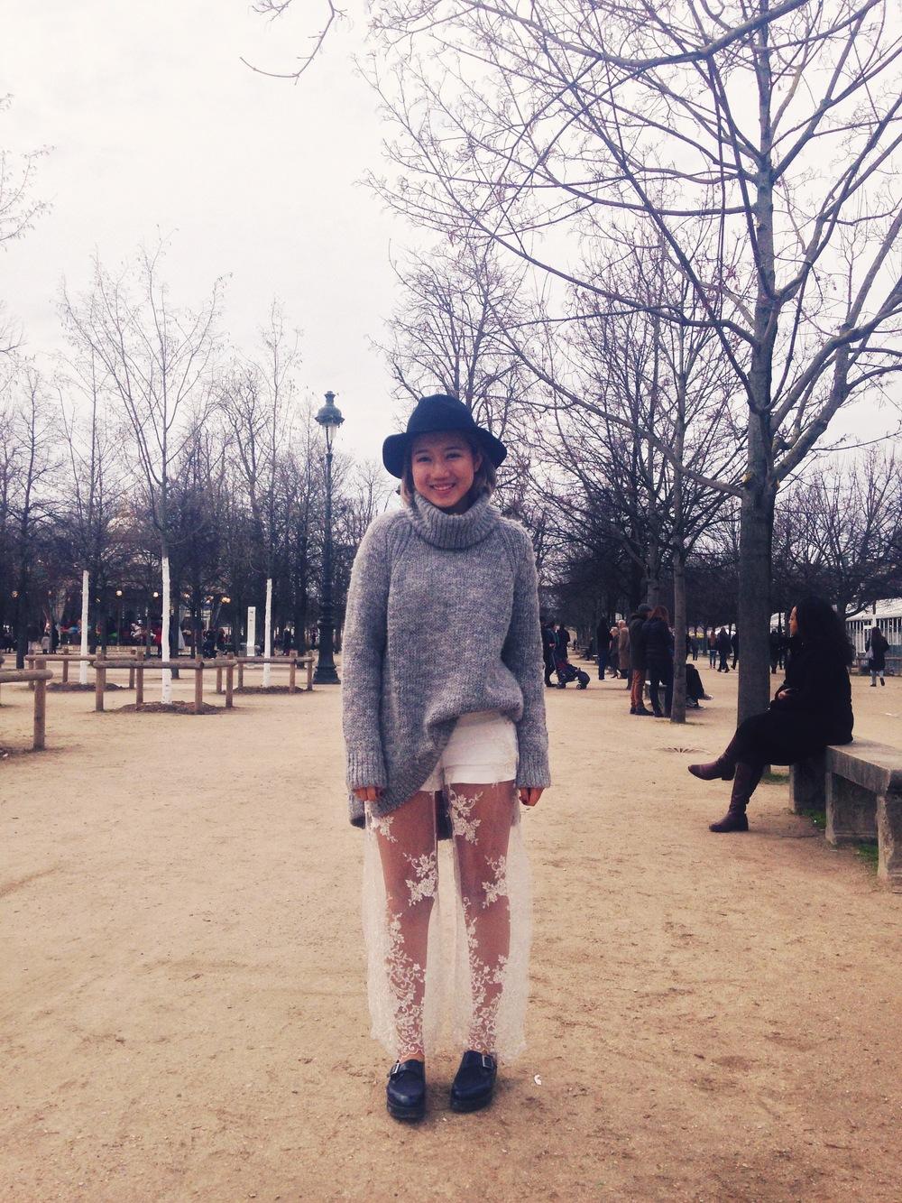 Yang in Paris, in apair of pants she designed