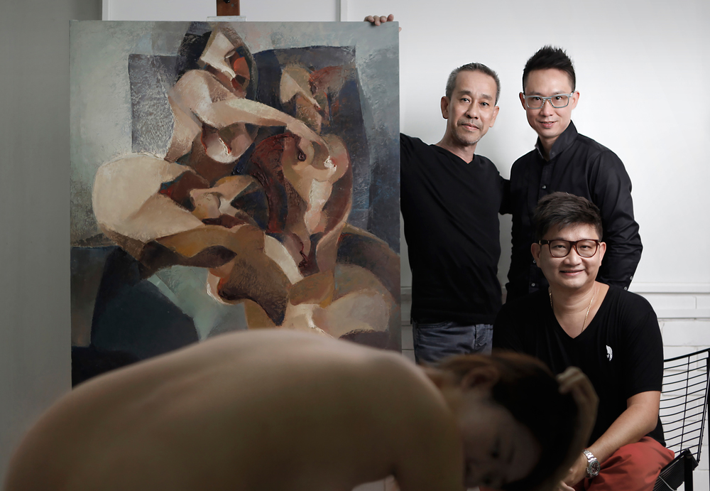 Pictured: Yeo Siak Goon (Top Left) with Founders of The Art Fellas, Cruz Phua (Top Right) and Daniel Fong (Bottom Right)