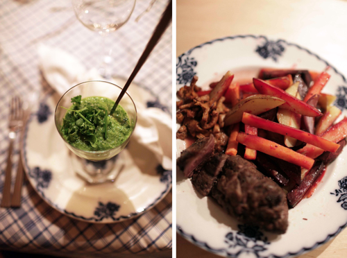Lägg färskoströran i botten på ett tjusigt glas, jag tog ett formpressat antiktvinglas med en kaffelattesked nedstucken likt ett spjut i en gräsmatta. Häll sedan örtröran ovanpå. Lägg upp köttet och grönsakerna och servera.