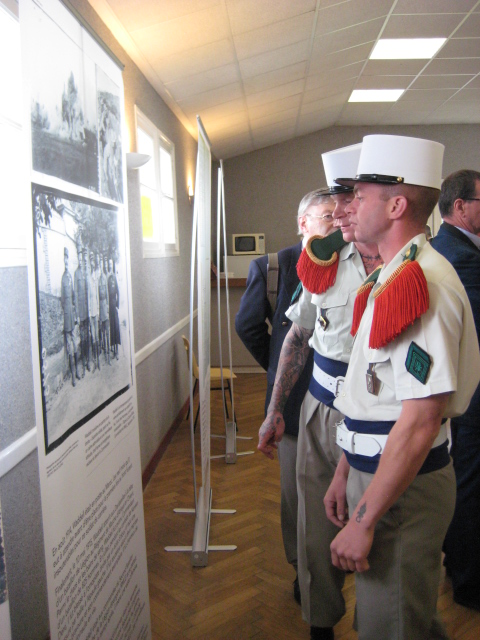 Foreign Legionnaires checking out the James Waddell exhibition