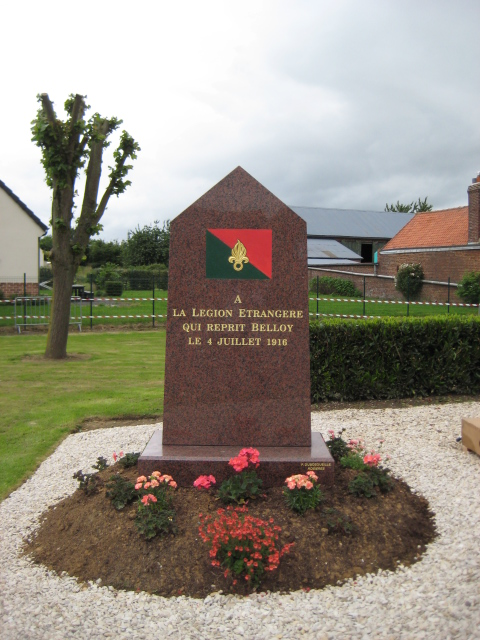 A memorial to the French Foreign Legion who fought and recaptured the village of Belloy-en-Santerre on 4th July 1916 was dedicated during the commemorations