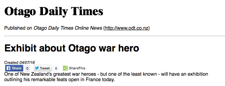 Otago Daily Times news story