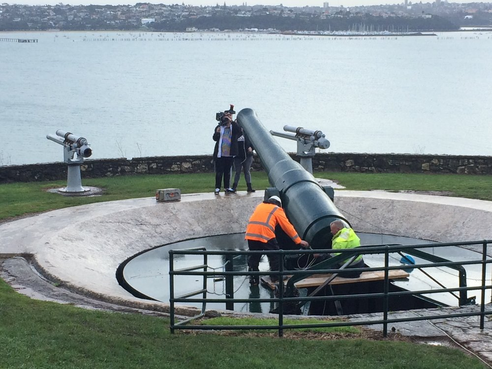 Pyrotechnic and armoury whizzes Daryl Richard and Grant Philpott at work on the 1885 disappearing gun on North Head, Auckland NZ