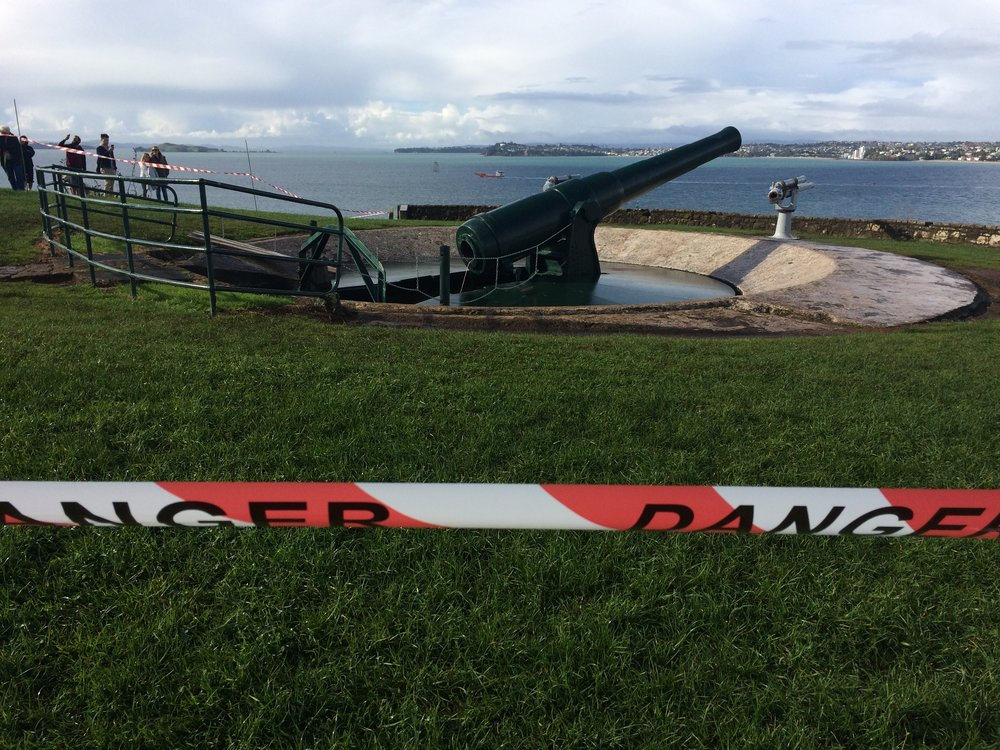 The gun is ready, area cordoned off and now waiting for Heritage Rescue presenter Brigid Gallegher to come and push the detonator....