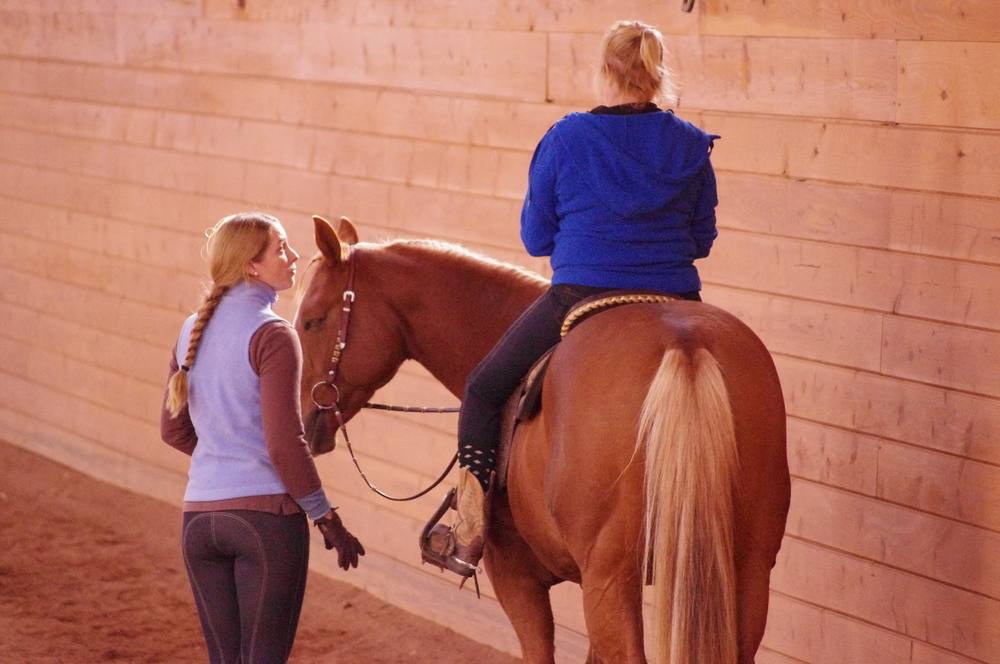 Teaching Valerie Hodder on her horse Moondog during a clinic at Five Oaks Equestrian Center in Tolland, CT. Photo taken by Karen Hendrick Lendvay.