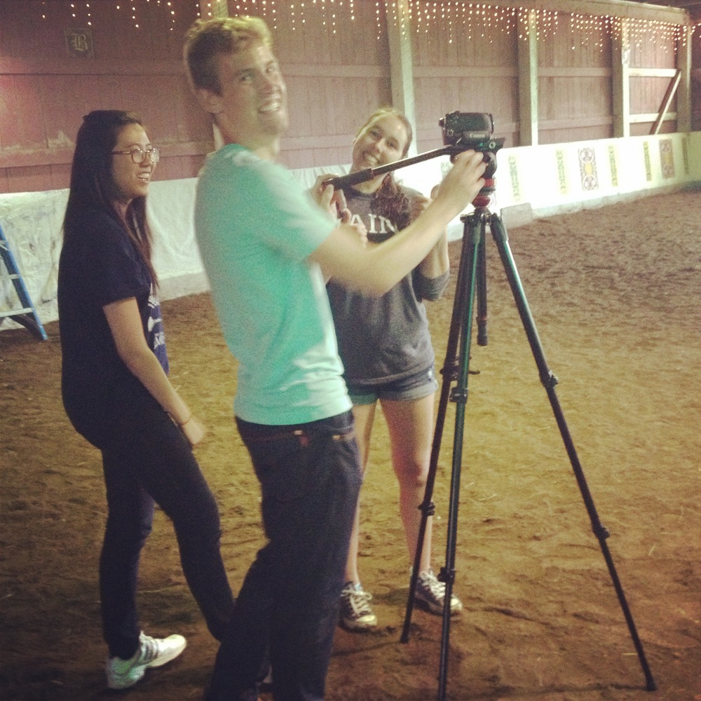 (left to right) Christine Le, Jacob Pelkey and Courtney Norman setting up for the shoot. You were great guys! :)