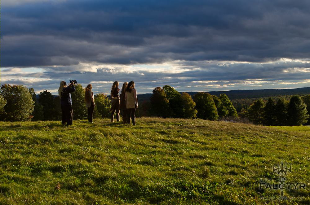 Filming us at the top of the field overlooking the herd of horses below. The clouds were so beautiful!