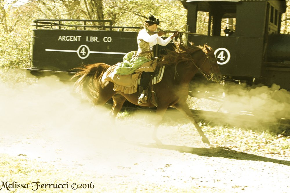 Heather Hayes riding her Azteca mare Sadie. Photo taken by Melissa Ferrucci.