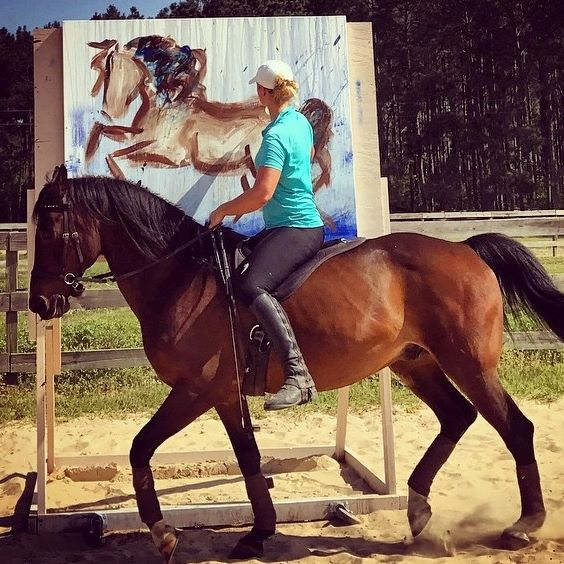 Art on Horseback Equine Sandra Beaulieu Performance Artist Bitless Bareback Calligraphy Abstract Painting.jpg