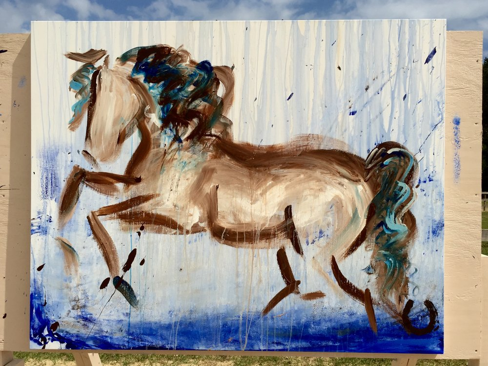 Art on Horseback %22Dancing in the Rain%22 Horse Art Equine Sandra Beaulieu Abstract Calligraph.jpg