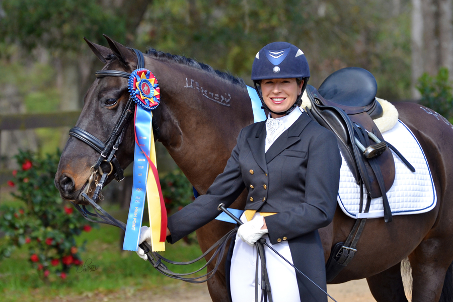Marsha Hartford-Sapp and Cobra, dressage champions.