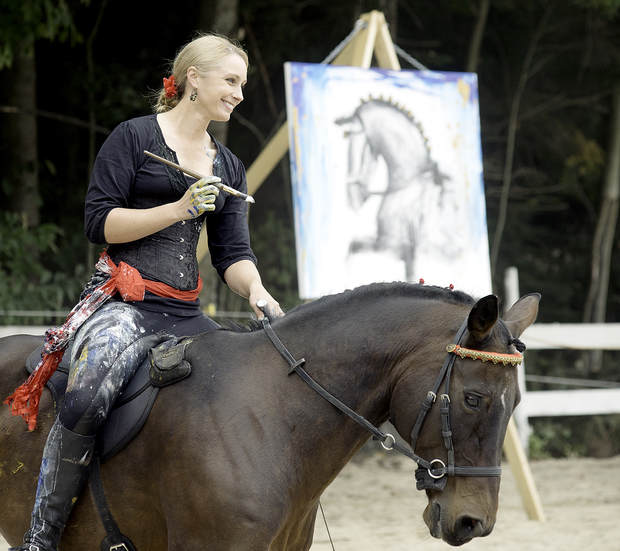 Photo Credit: Daryn Slover of the Sun Journal Newspaper Art on Horseback with Sandra Beaulieu and Rovandio