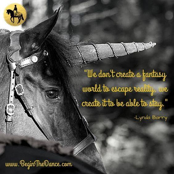 Fantasy World Quote Horse Friesian Unicorn Begin the Dance.jpg