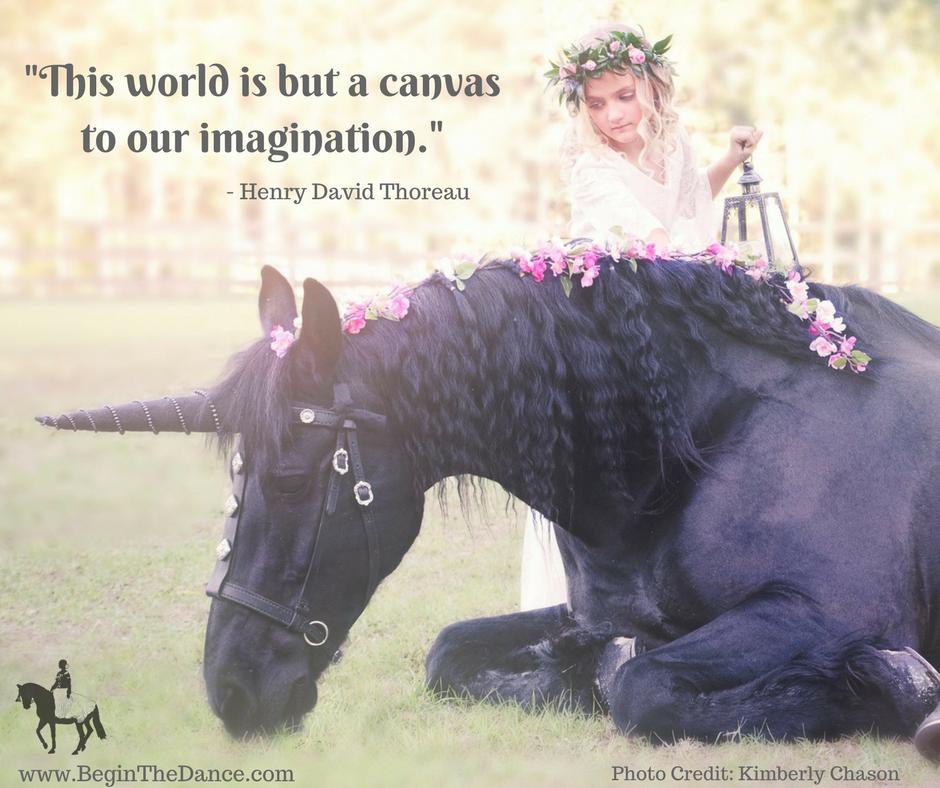 Unicorn Quotes Inspiring Magic Imagination Henry David Thoreau flower girl fantasy fairytale Friesian horse Sandra Beaulieu Kimberly Chason.png