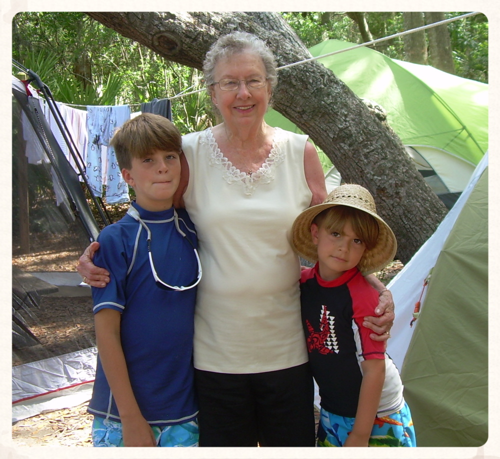 Momma Jane with her Great Grandsons on a recent camping adventure.