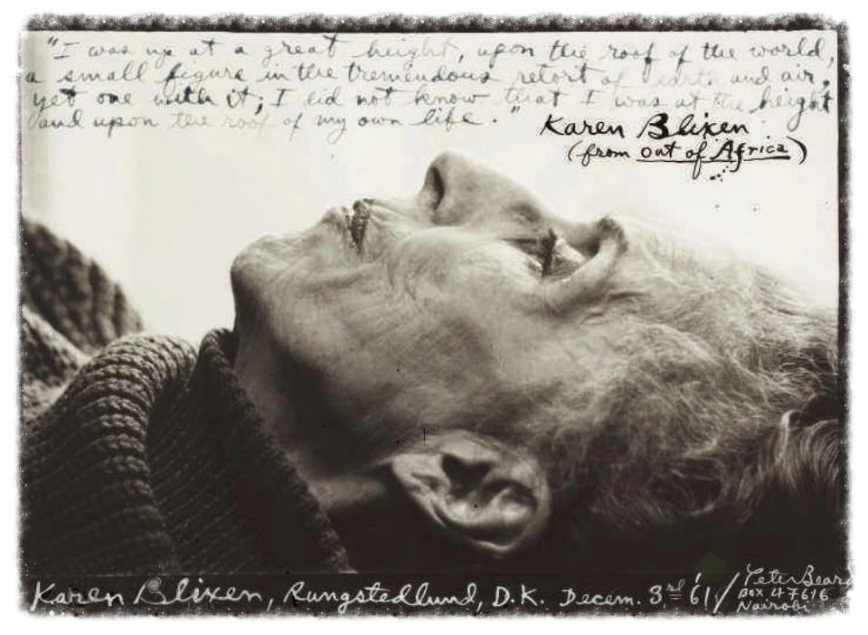 Karen Blixen aka;Isak Dinesen photo by Peter Beard 1962