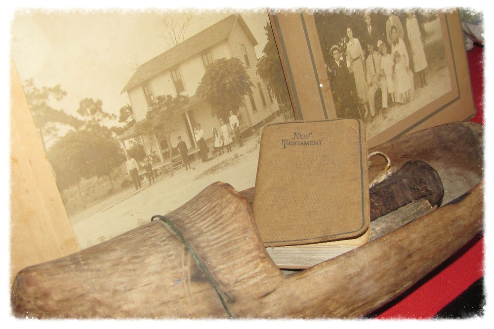 The wooden shoe, Uncle Ken's New Testament and some old photo's of the family home on Boynton Beach Florida.