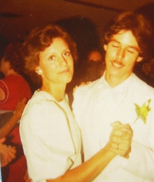 Benny and I dancing at his wedding 1978. Not a good photo of us, but the only one I could find today.