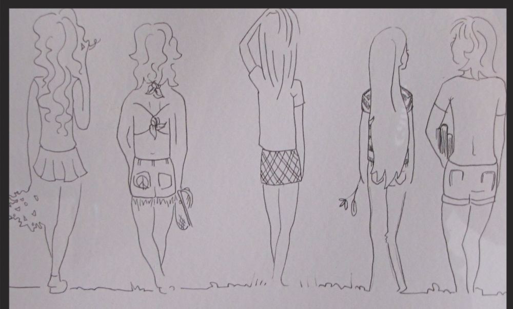 """WEST GATE GIRLS""    A drawing by my artist daughter Hannah several years ago, from all the stories she's heard about THE WEST GATE GIRLS., Diane in cheering uniform, Me in halter top, Marci, and our dear friends, Lynne of the beautiful flowing hair and our beloved friend Vicki, who we lost to colon cancer in 2009.    *LostTraderArt""on Facebook"