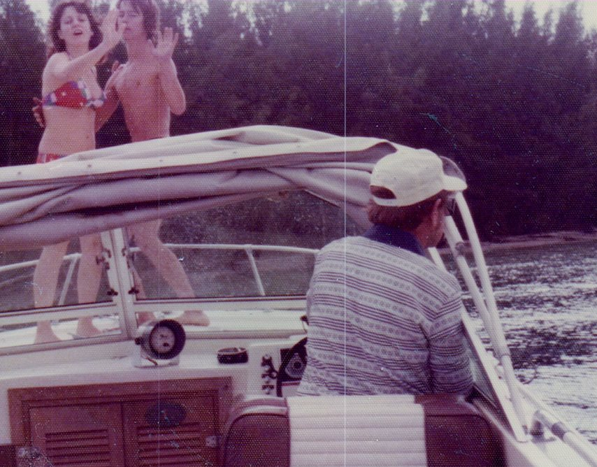 Me and Ben dancing on the deck of his Dad's boat 1975.
