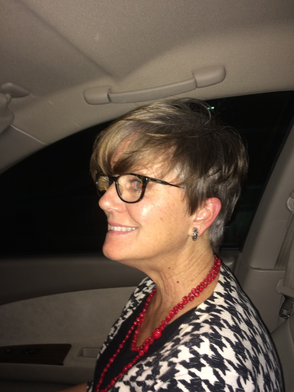 "The night I got the chop! On the way home in our car. (as Nora Ephron said; ""I feel bad about my neck"")."