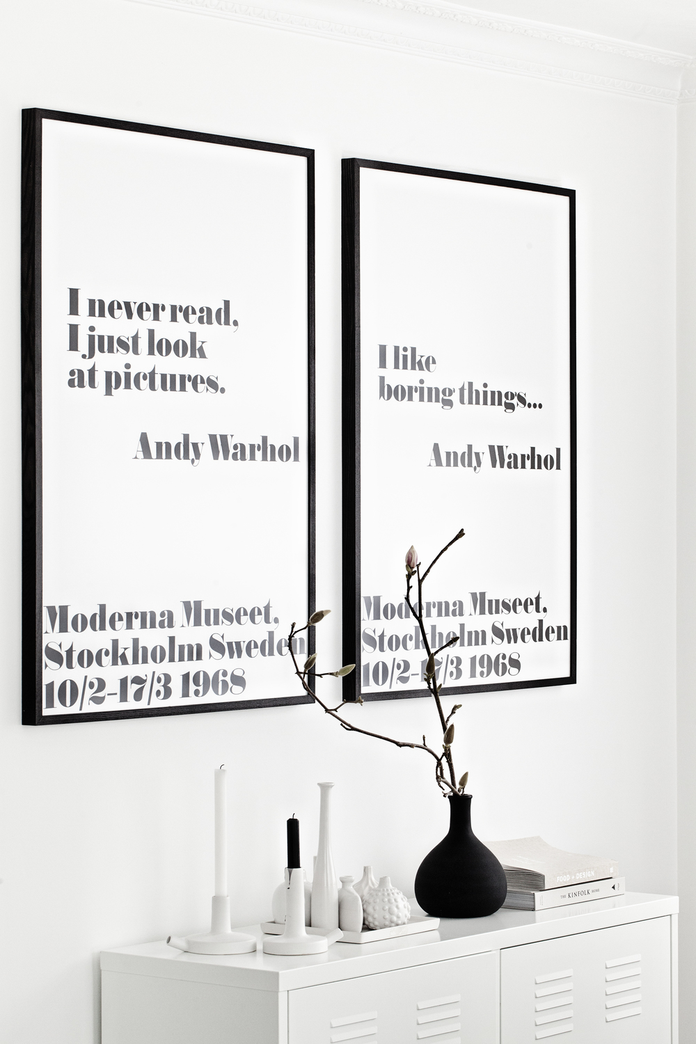 Andy Warhol Frame + Poster Prints from King & McGaw | white Ceramics Candle Holders Catherine Lovatt for Serax Belgium