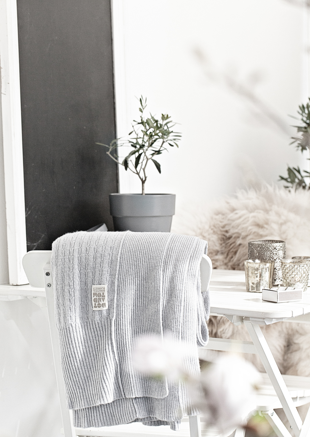 Grey Cable Knit Blanket from Dot & Tom