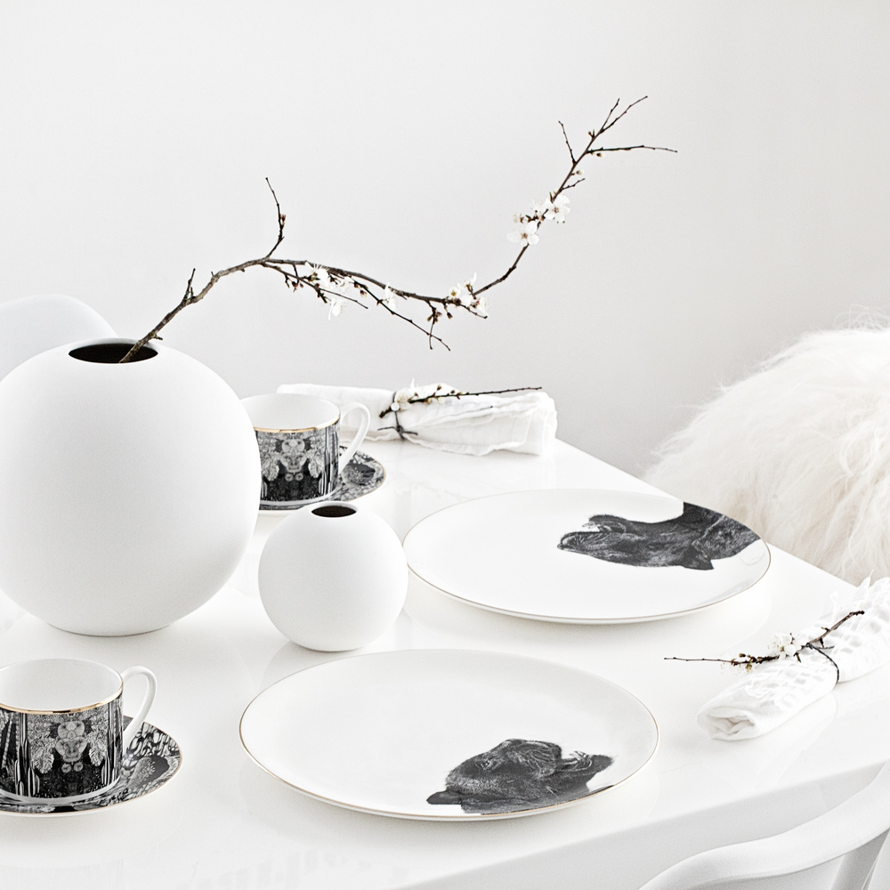 Panther Plates & Tea Cups Set from  Abi Overland  | White Round Vases from  Cooee  and for all the UK fans, they will soon be available from Made Modern!