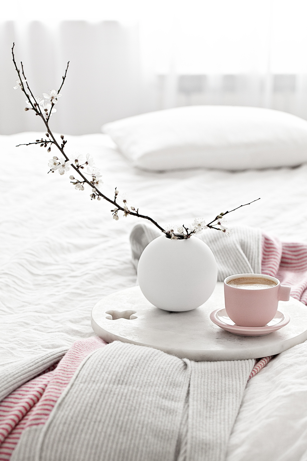 Pink Cup by Catherine Lovatt for  Serax  | Pink & Grey throw/blanket from  Dot & Tom  | White Round Vases from  Cooee  and for all the UK fans, they will soon be available from Made Modern!