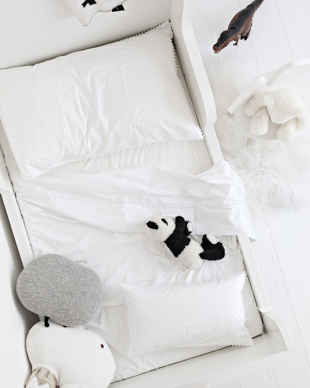 Bed Linens, Vintage Panda, Vintage White Bear from The White Company | Tibetan Sheepskin Rug from Milabert