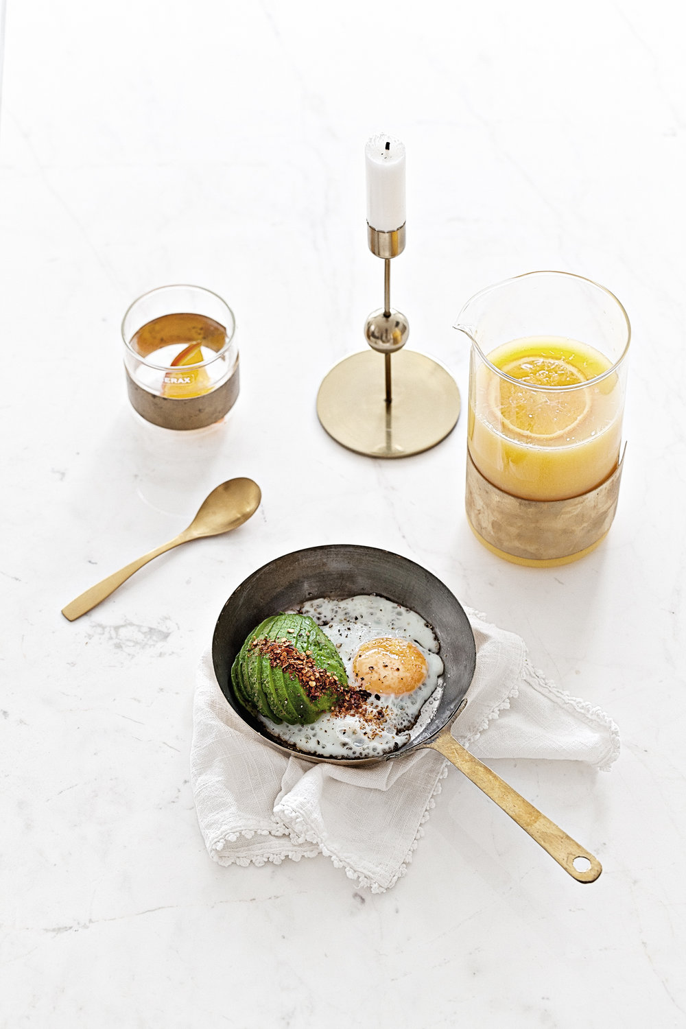 Avocado & Egg | Brass Carafe & Glass by Niels Datema for Serax Belgium