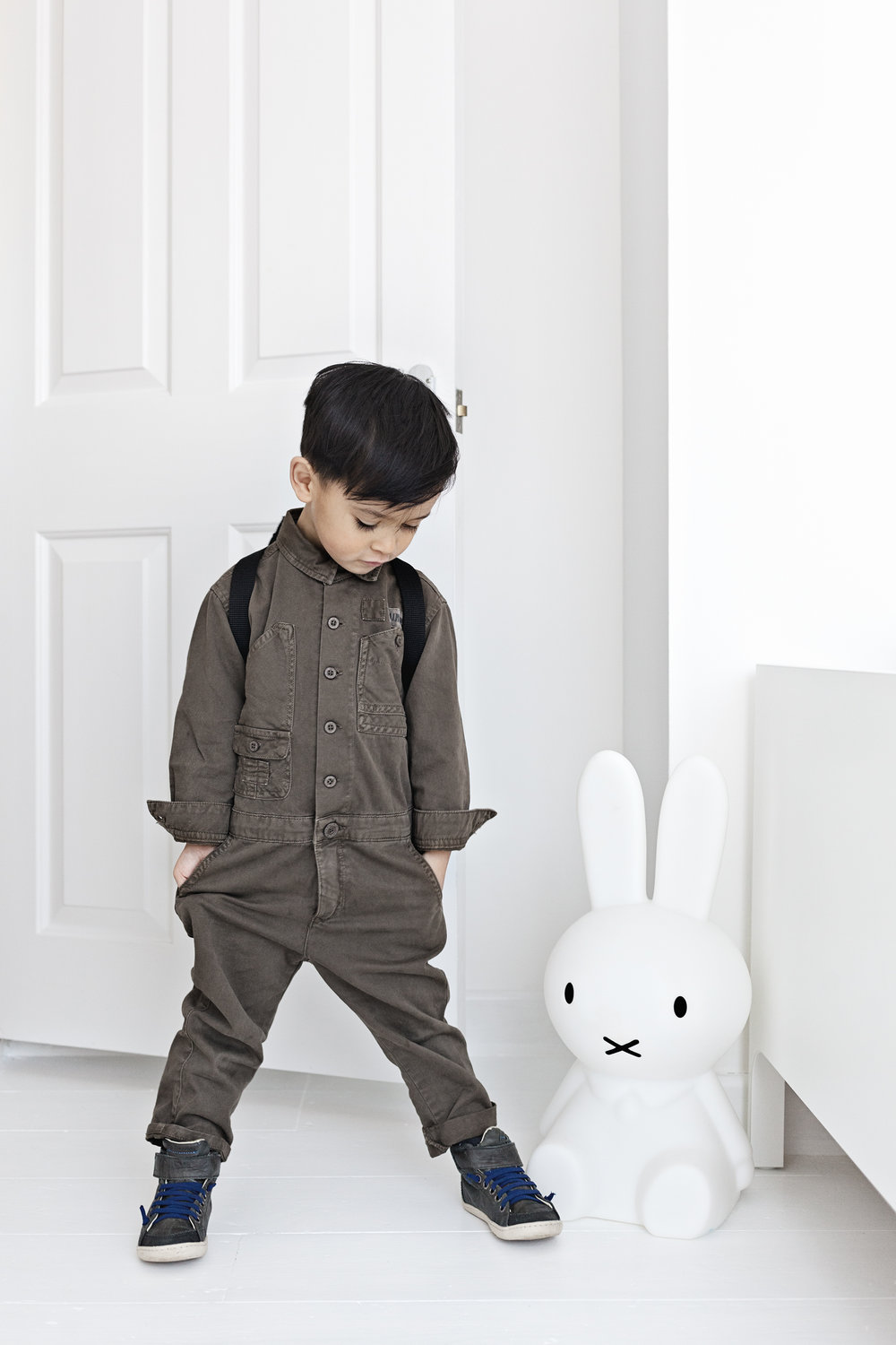 Khaki Jumpsuit from Zara Kids | Blue High Tops from Tip Toey Joey NZ