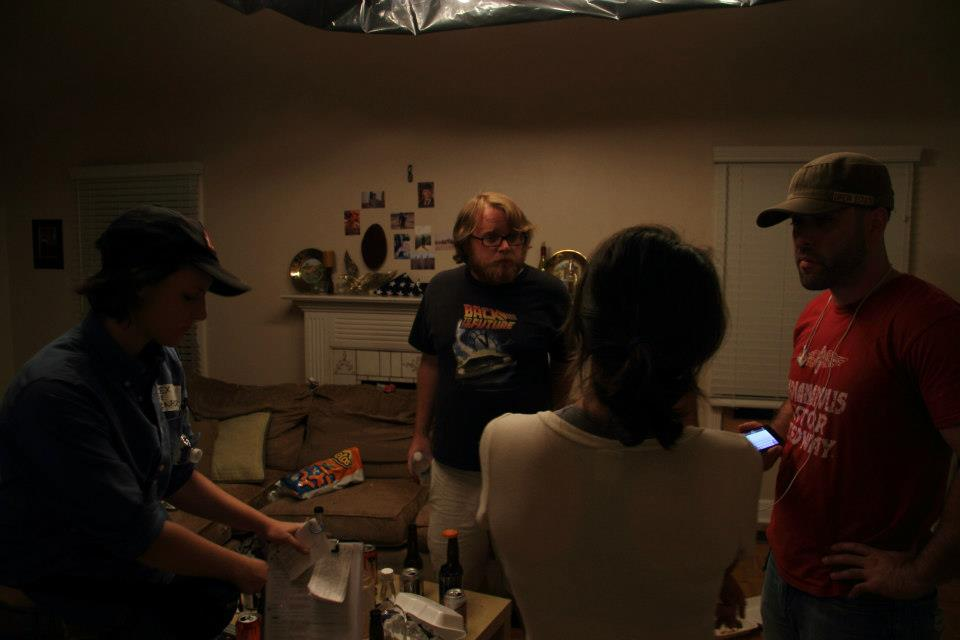 Tyler Nisbet meeting with producers on the set of short film DOG in Glendale.  photo credit: Jeremy Parsons