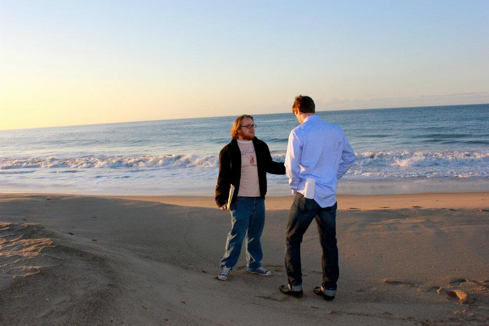 Tyler NIsbet directing Brad Richardson on a beach in Malibu while shooting Summer Dream.   photo credit: Kelly Slachman