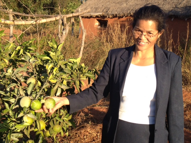 Pastor Juliette and one of the many fruit trees