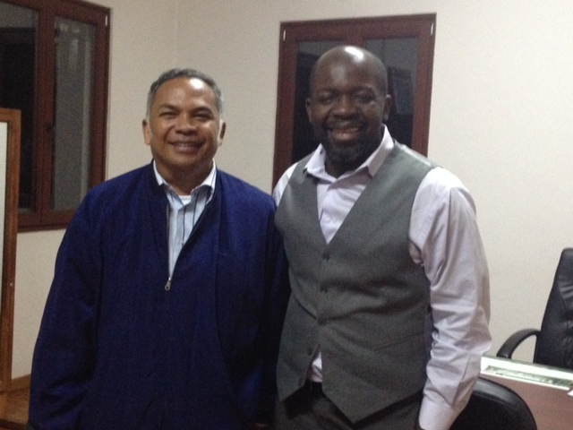 Our partners: Pastor Lala, President of FJKM and Patrice Tsague, CEO of Nehemiah Project International   Ministries