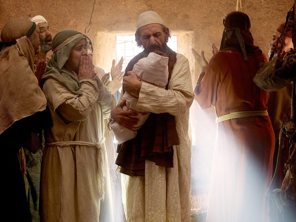 Zechariah with baby John,  Free Bible Images