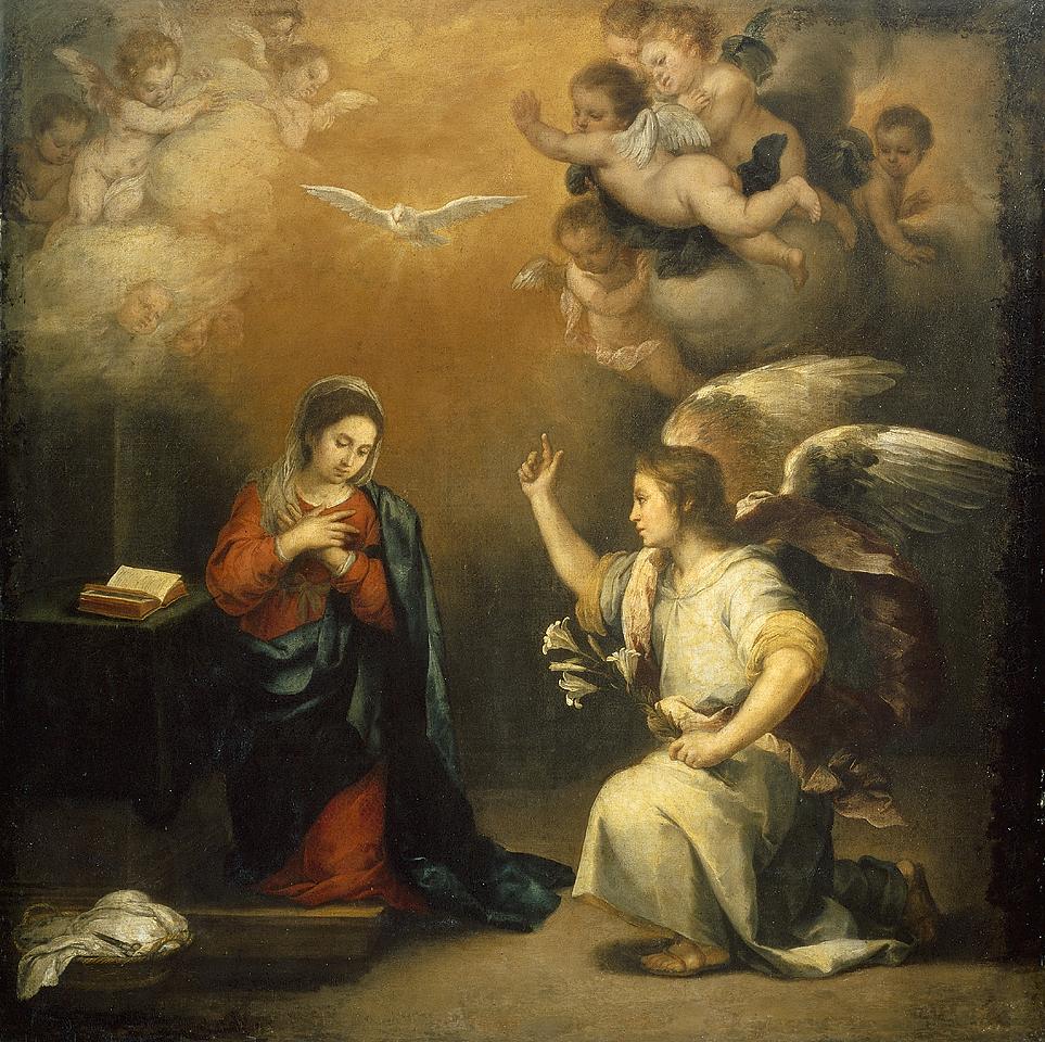 The Annunciation, Bartolomé Esteban Murillo, 1160-1680. Rijksmuseum, Amsterdam.
