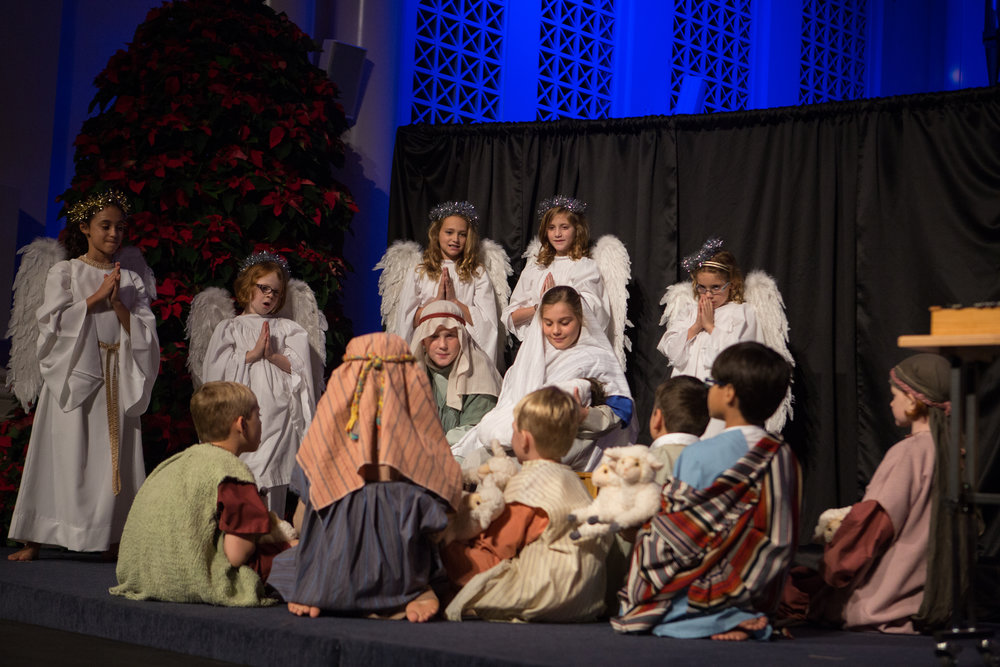 The angels and shepherds gather to adore the newly born Jesus in our 4pm Family Worship service on Christmas Eve, led by SHINE Children's Ministry.