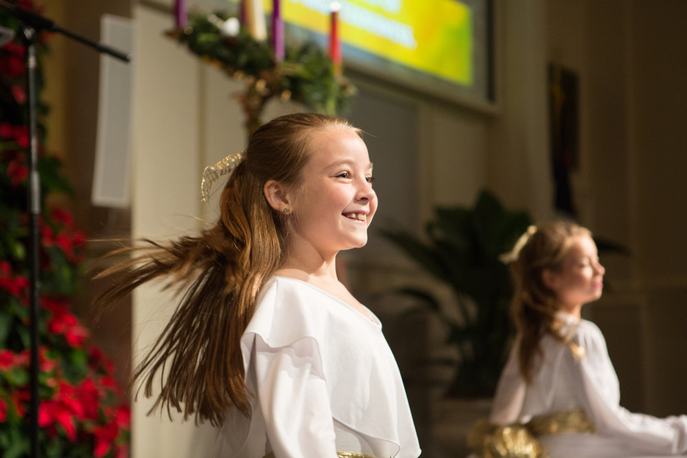 Our liturgical dancers celebrate during the 4pm Family worship service on Christmas Eve, 2015.