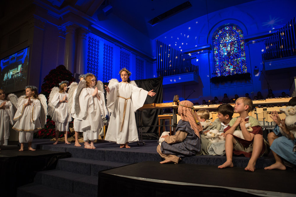 The angels announce Christ's arrival to the shepherds in our Family Service, Christmas Eve 2015.