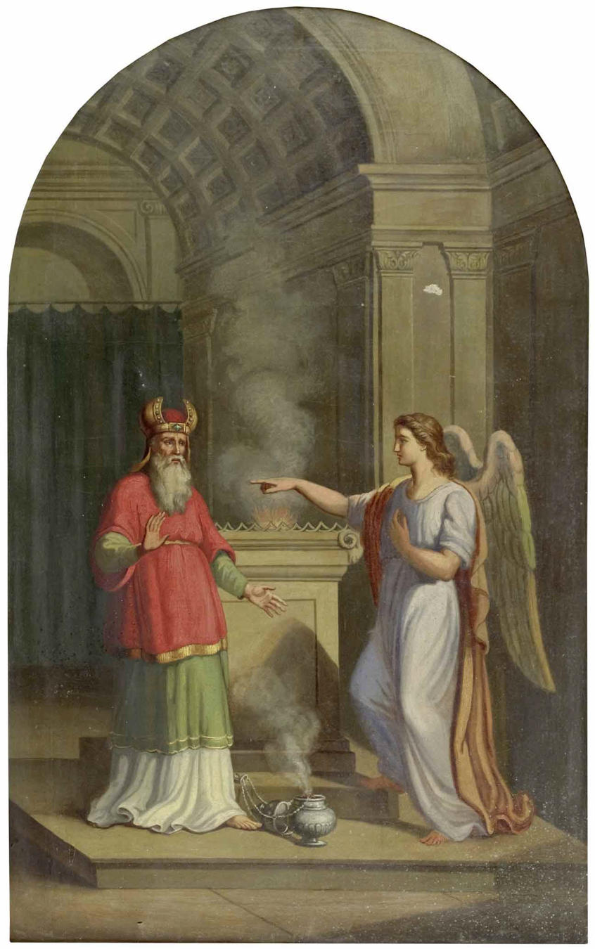 —Painter Unknown. To Zechariah, When He Made the Smoke Offerings in the Temple, The Angel Gabriel. Circa 1800. Salzburg, Austria.