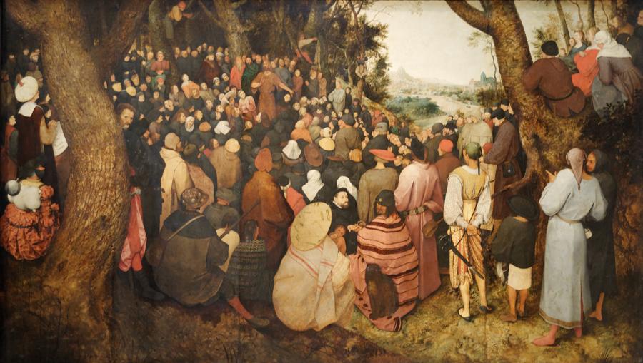 —  Bruegel the Elder, Pieter. The Sermon of St John the Baptist .  1566.  Museum of Fine Arts, Budapest.