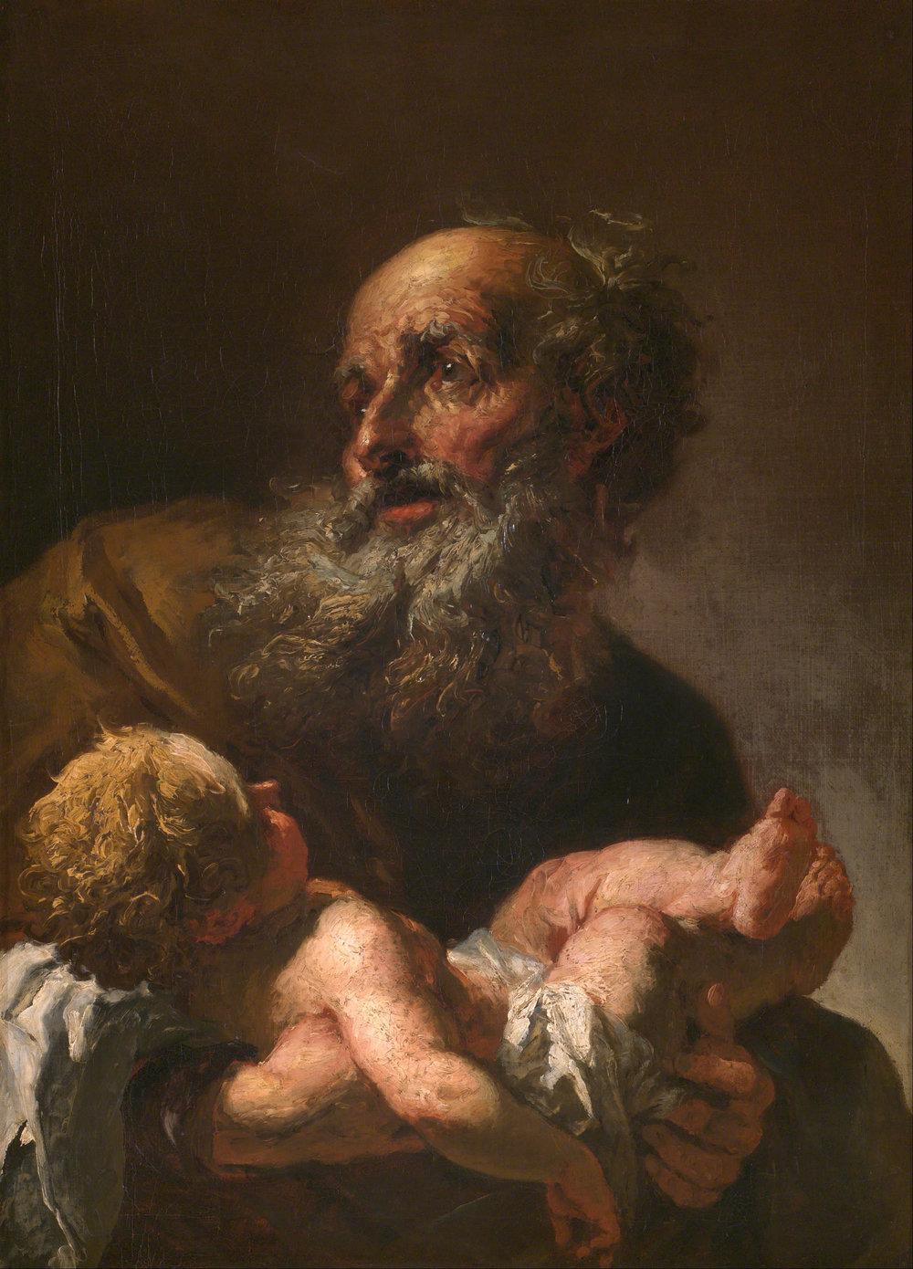 —Brandl,Petr. Simeon with Infant Jesus .1725.Prague National Gallery,Prague.