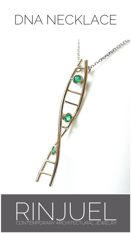 RINJUEL | DNA necklace. Emeralds set in 14K white gold.