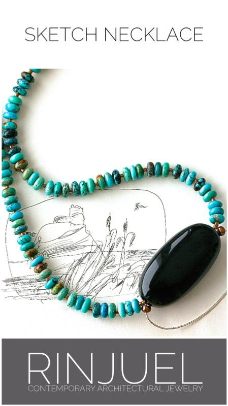RINJUEL | Sketch necklace. Turquoise, onyx and sterling silver