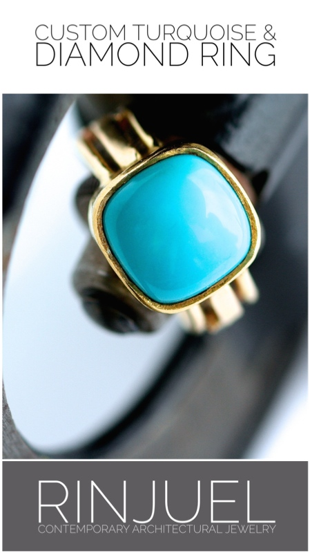 RINJUEL | Heritage ring. Turquoise and diamonds set in 22K yellow gold.