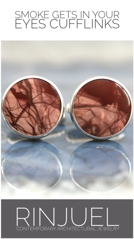 RINJUEL | Smoke Gets In Your Eyes cufflinks. Morrisonite jasper and sterling silver.